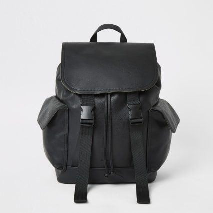 Black double buckle flapover backpack