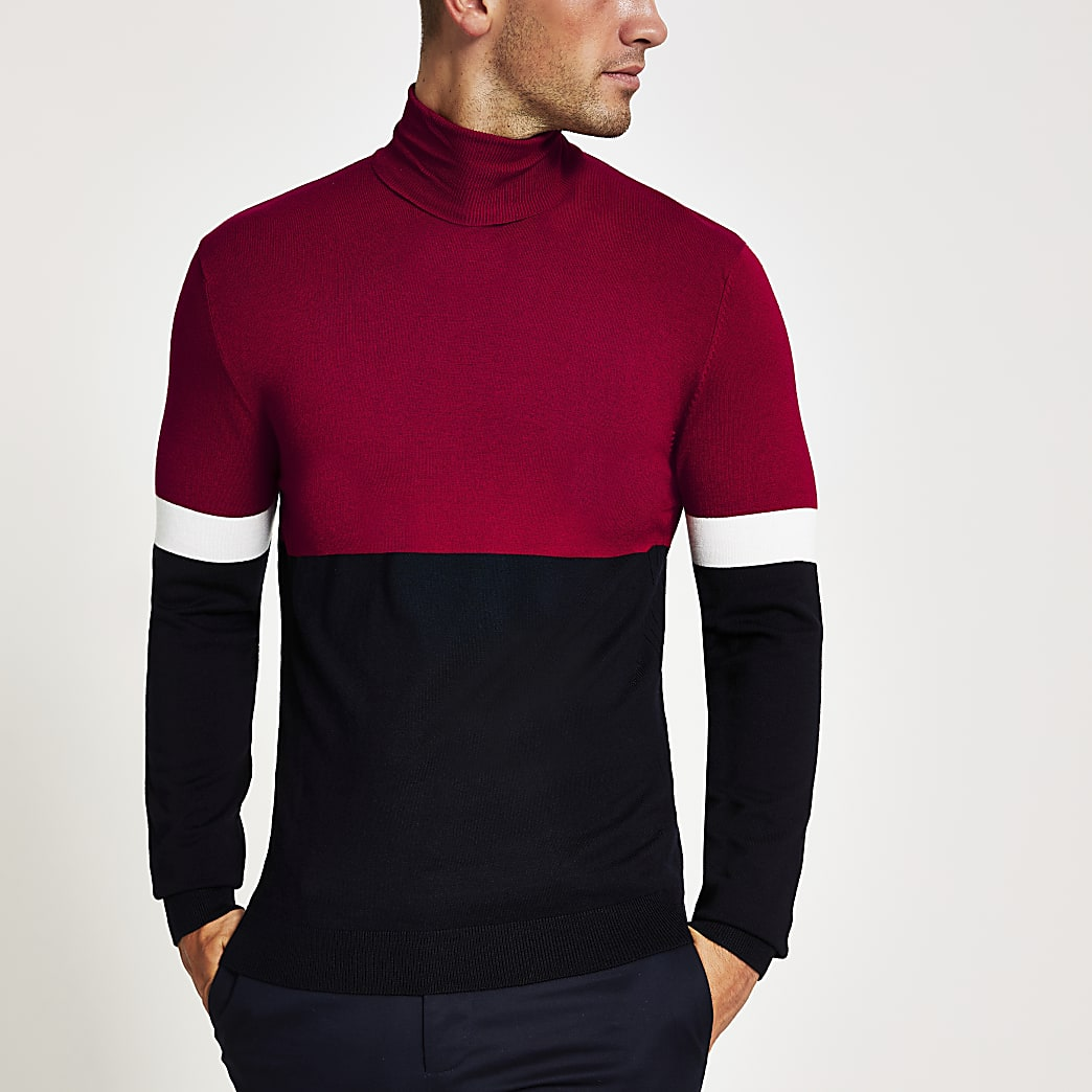 Red colour block slim fit roll neck jumper