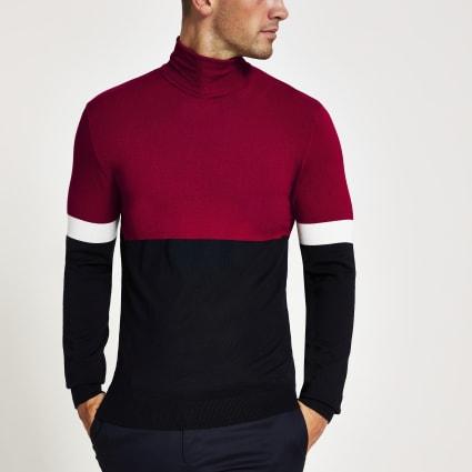 Red colour block slim fit roll neck jumper