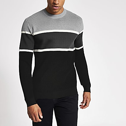 Grey colour blocked knitted slim fit jumper