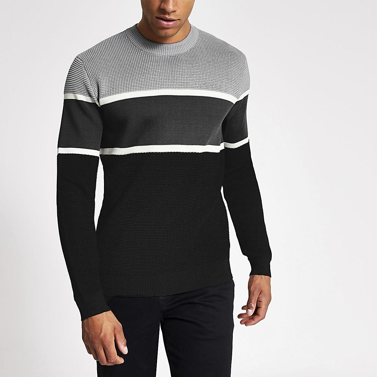 Grijze gebreide slim-fit pullover met kleurvlakken