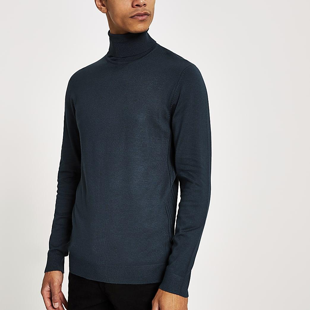 Groene gebreide slim-fit pullover met col