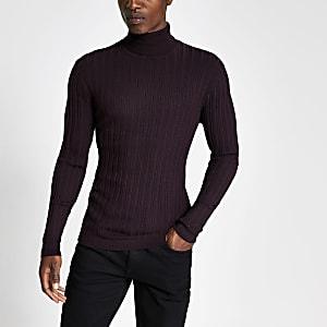 Paarse aansluitende geribbelde pullover met col