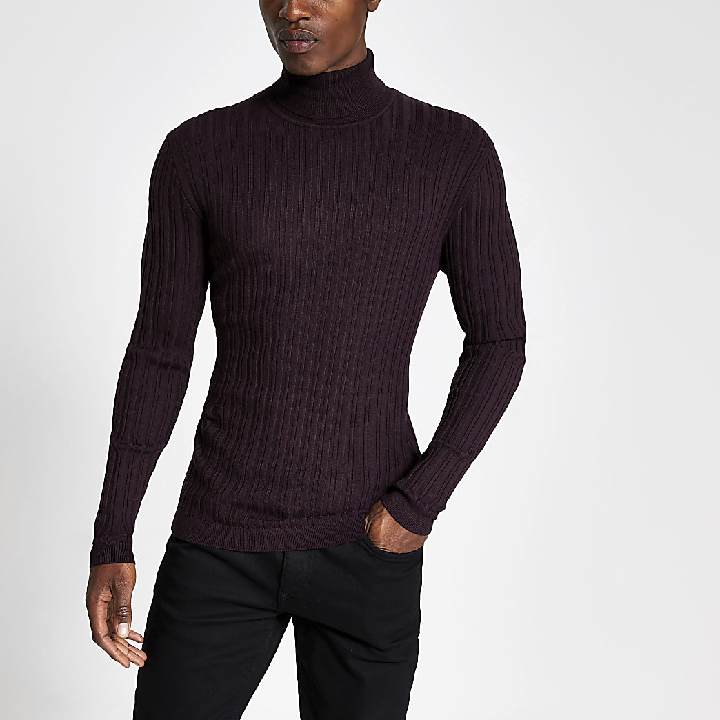 Purple roll neck muscle fit ribbed jumper