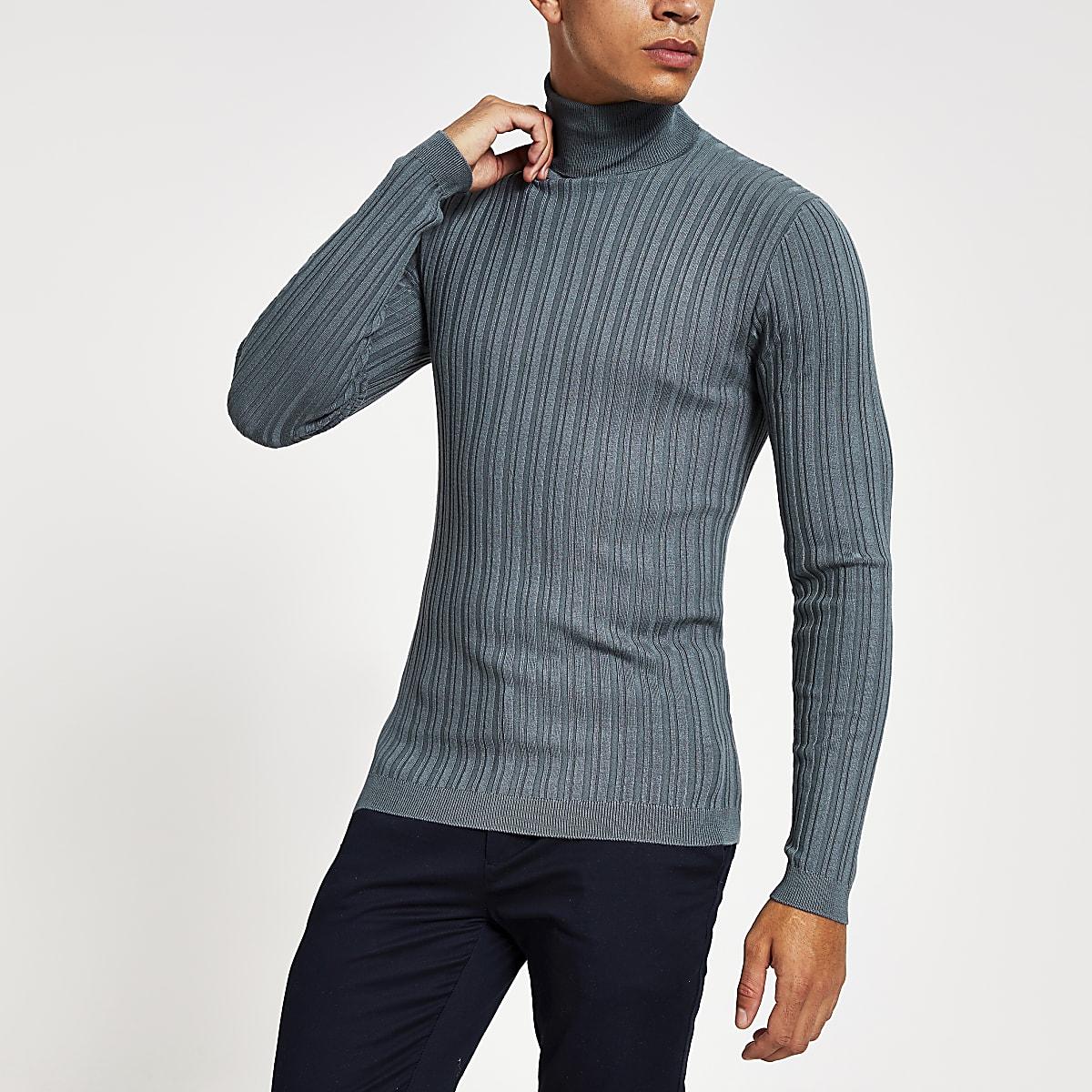 Grijze aansluitende geribbelde pullover met col