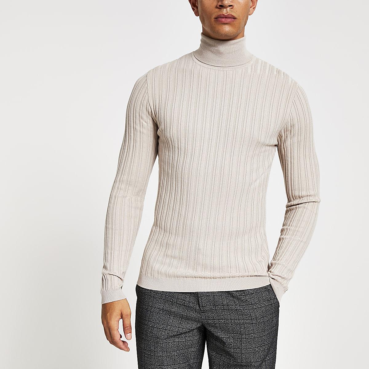 Kiezelkleurige aansluitende geribbelde pullover met col