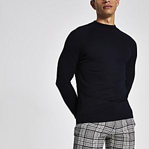 Marineblauwe slim-fit pullover met col