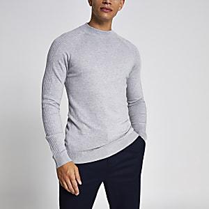 Grijze gebreide slim-fit pullover met col