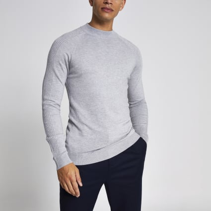 Grey slim fit turtle neck knitted jumper