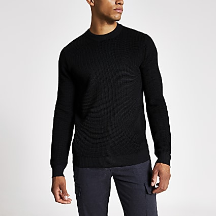 Black long sleeve knitted slim fit jumper