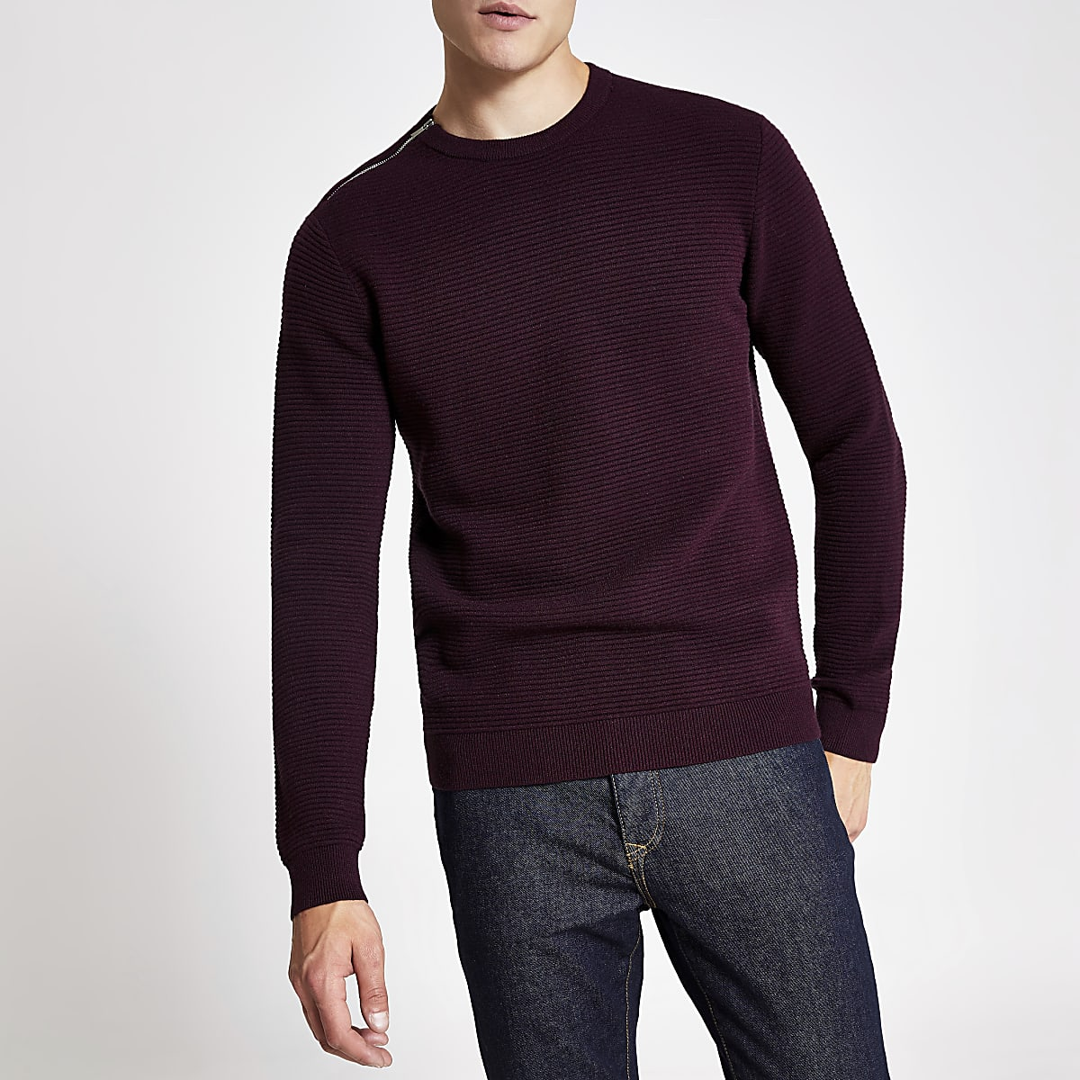 Red slim fit  zip neck knitted jumper