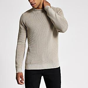 Kiezelkleurige gebreide slim-fit pullover met lange mouwen