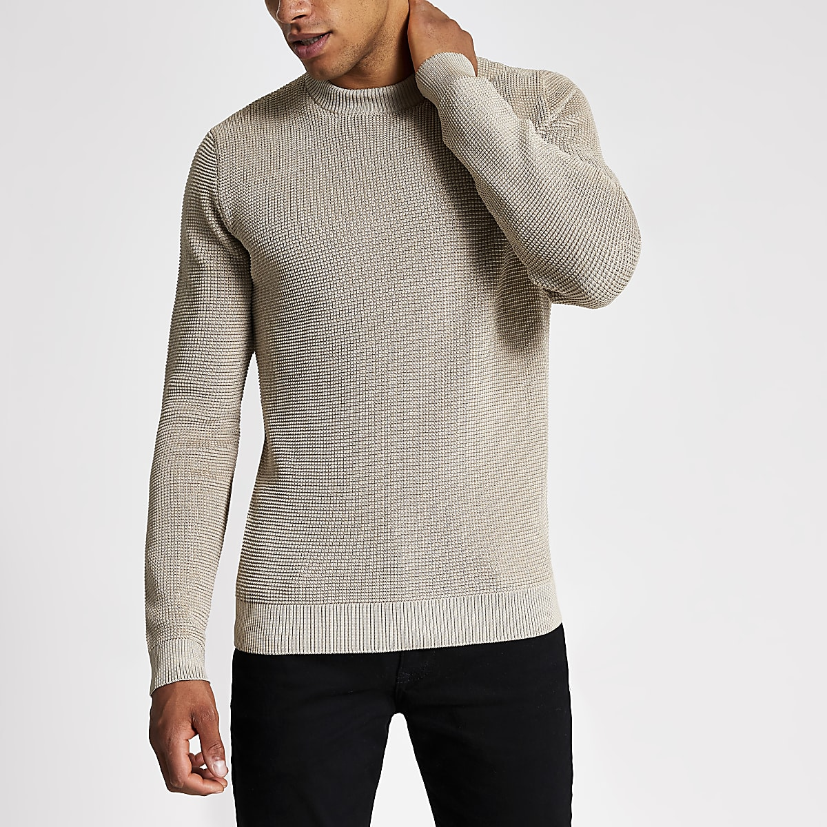 Stone long sleeve slim fit knit jumper