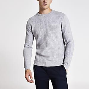 Grau melierter Pullover mit Ausschnitt und Reißverschluss im Slim-Fit
