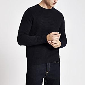 Marineblauwe slim-fit gebreide pullover met ronde hals