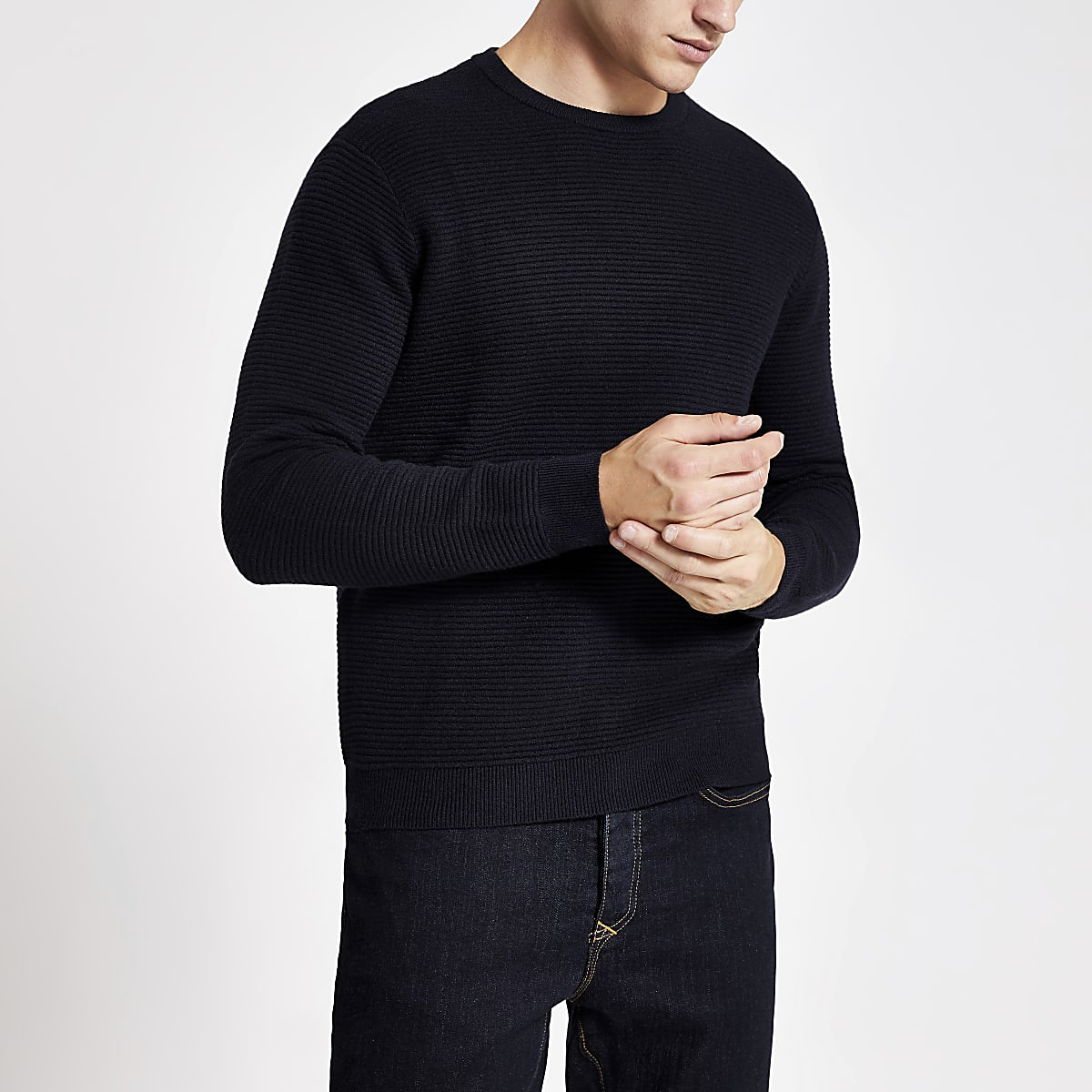 Navy slim fit knitted crew neck jumper