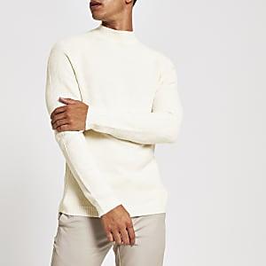 Ecru slim-fit gebreide pullover met col