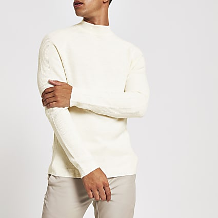 Ecru turtle neck slim fit knitted jumper