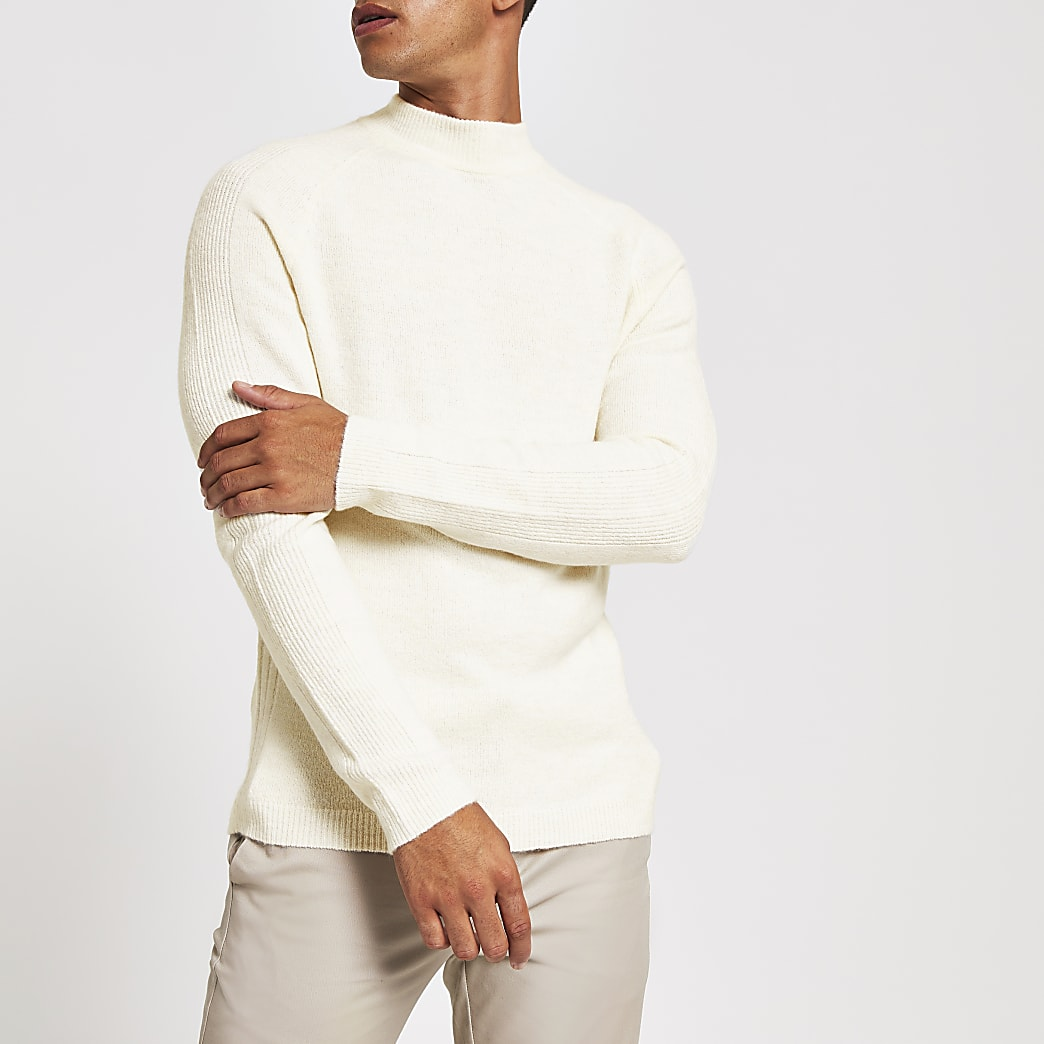 Ecru turtle neck slim fit knitted jumper