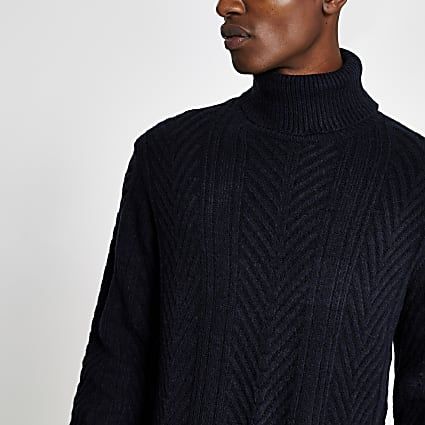 Navy slim fit knitted roll neck jumper