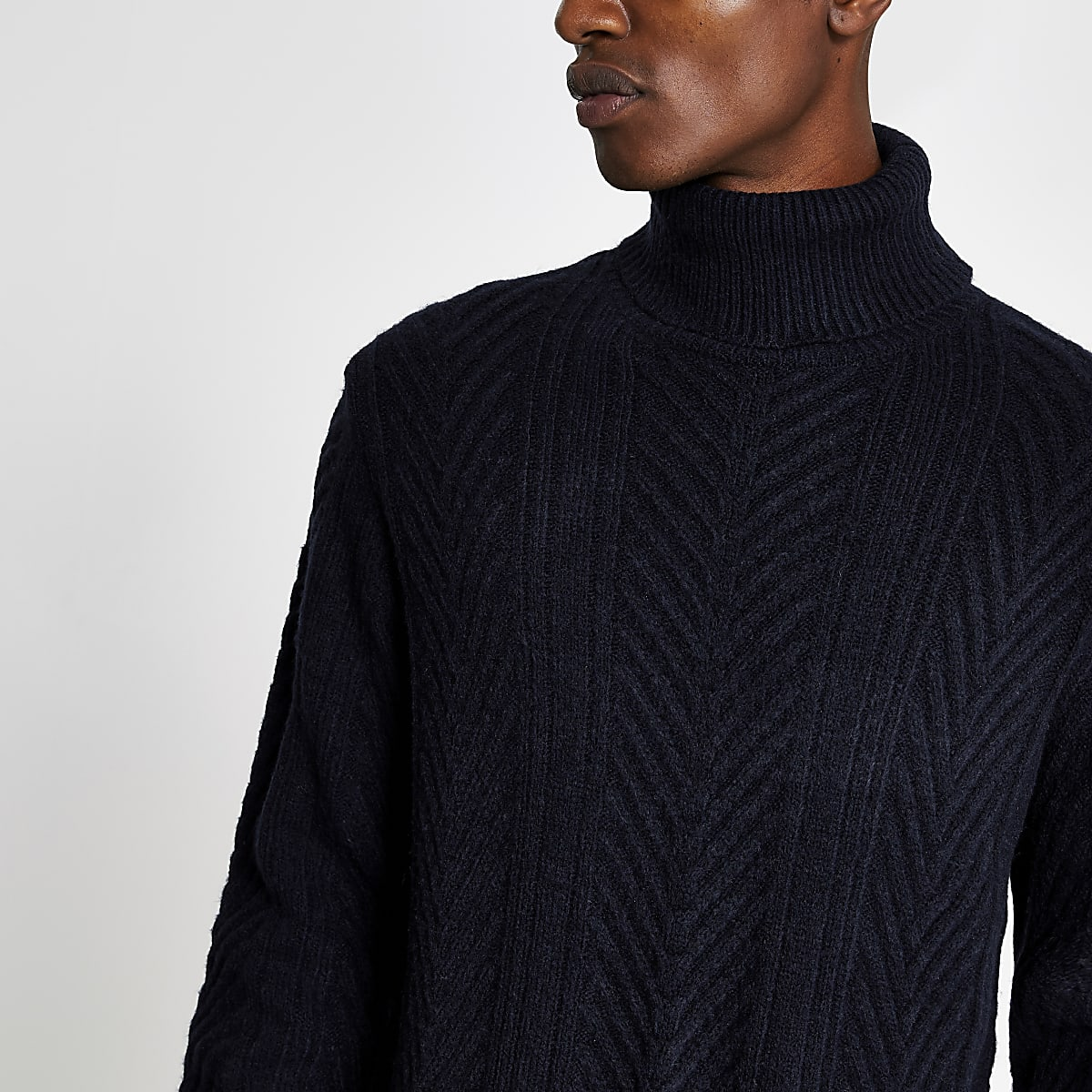 Navy slim fit roll neck knitted jumper