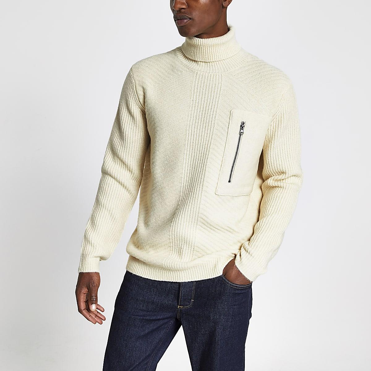 Ecru slim fit knitted roll neck jumper