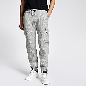 Pantalons de jogging côtelés gris