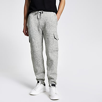 Grey ribbed joggers