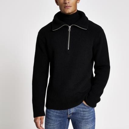 Black fisherman knit half zip jumper