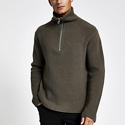Khaki fisherman knit half zip jumper