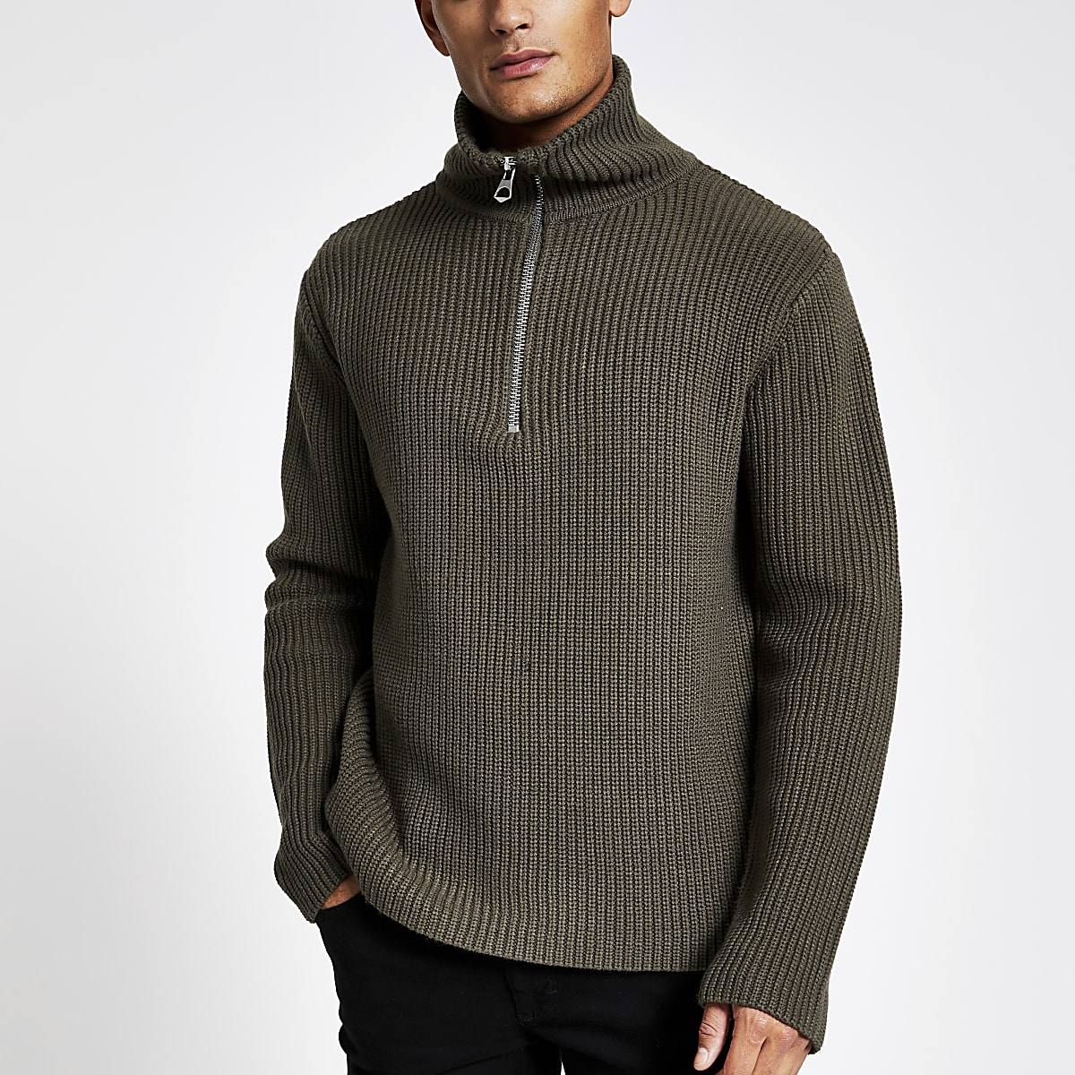 Khaki fisherman knit half zip jumper