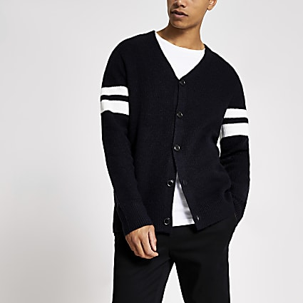 Navy knitted V neck cardigan