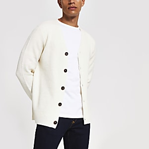 Ecru long sleeve button knitted cardigan