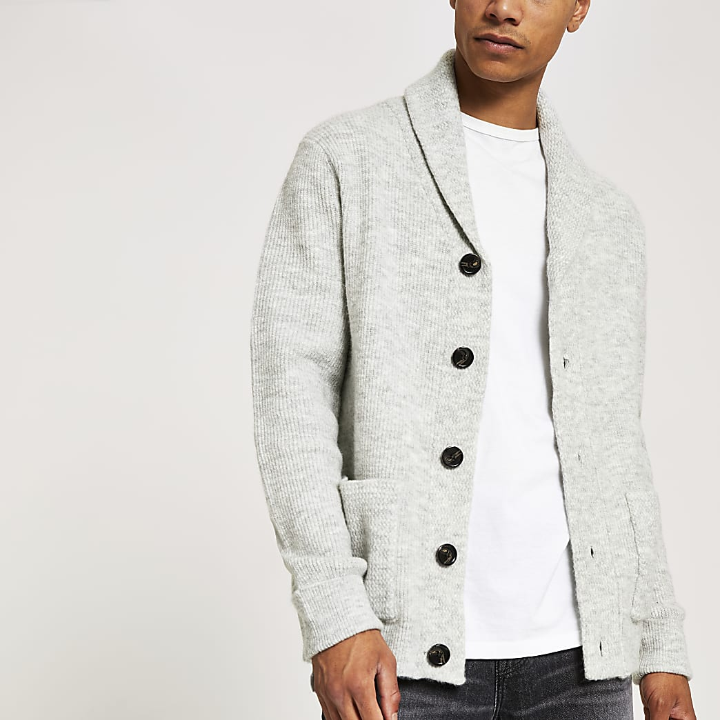 Grey knitted shawl collar cardigan