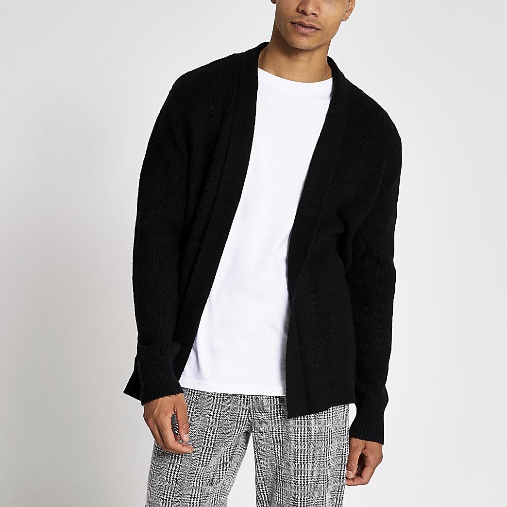Black knitted foldback collar cardigan