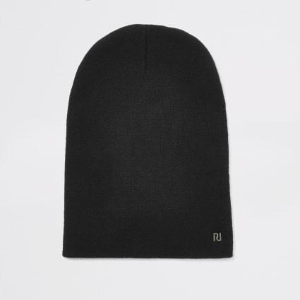 Black RI slouch beanie hat