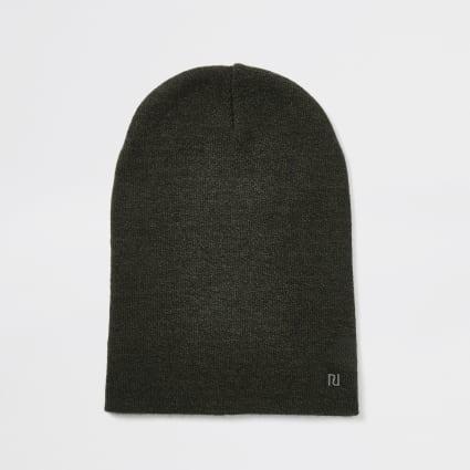 Khaki RI slouch beanie hat
