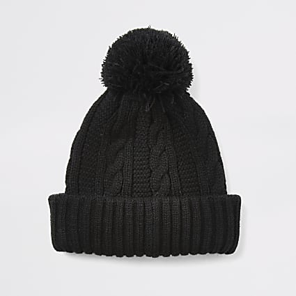 Black cable knitted bobble beanie hat