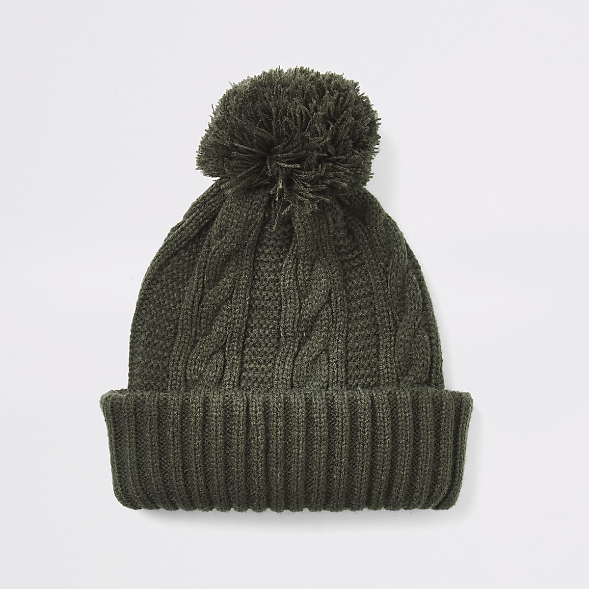 Khaki cable knitted bobble beanie hat