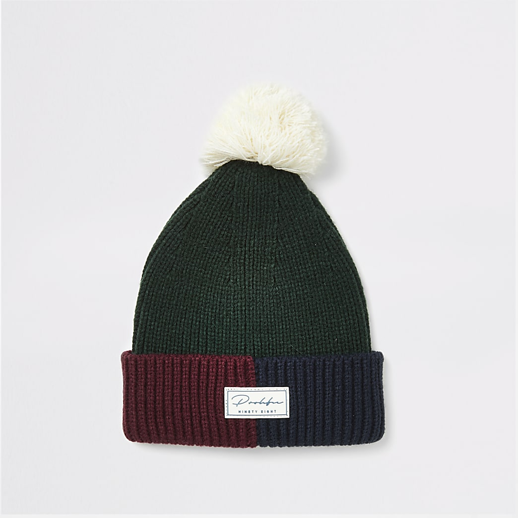 Prolific green faux fur beanie hat