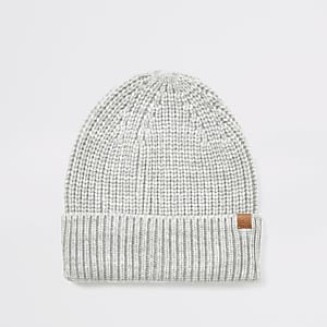 Grey knitted fisherman beanie hat