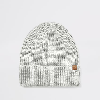 Light grey knitted fisherman beanie hat