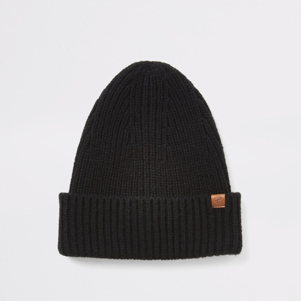 Black fisherman knit beanie hat