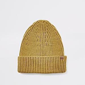 Bonnet pêcheur jaune moutarde en maille