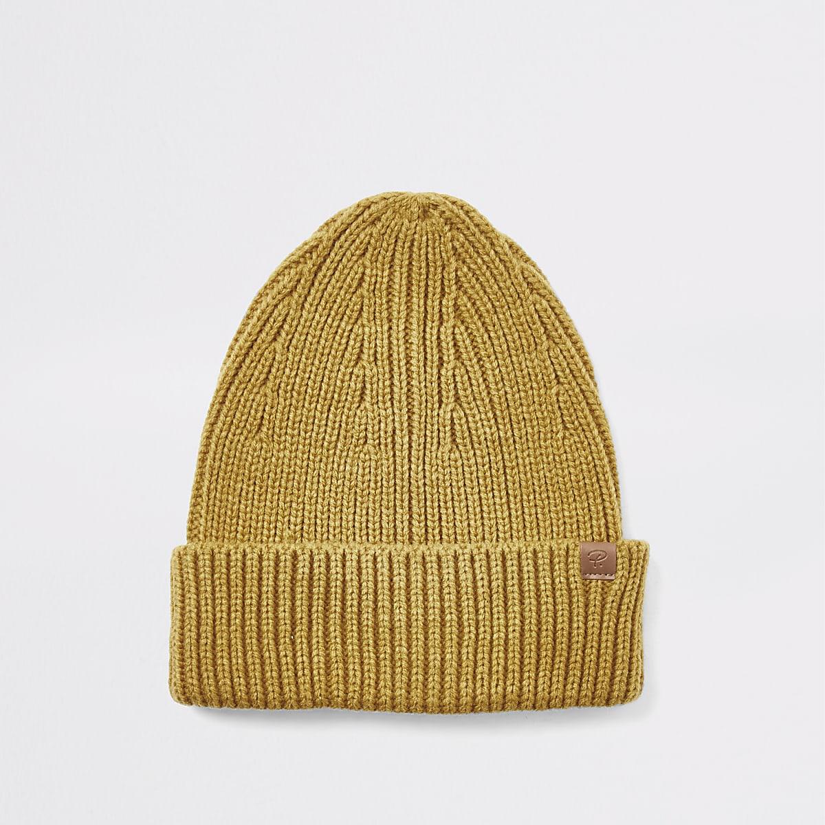 Mustard yellow fisherman knitted beanie hat