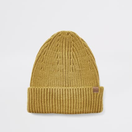 Mustard yellow fisherman knitted beanie hat