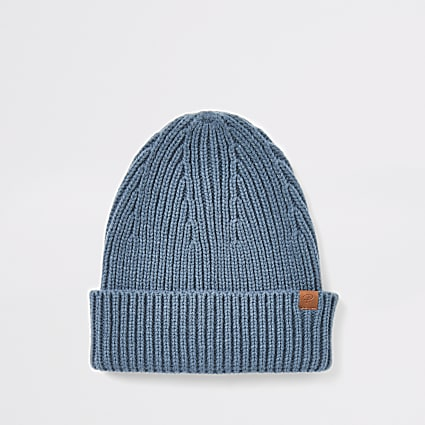 Blue fisherman knitted beanie hat