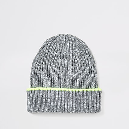 Grey neon tipped beanie hat