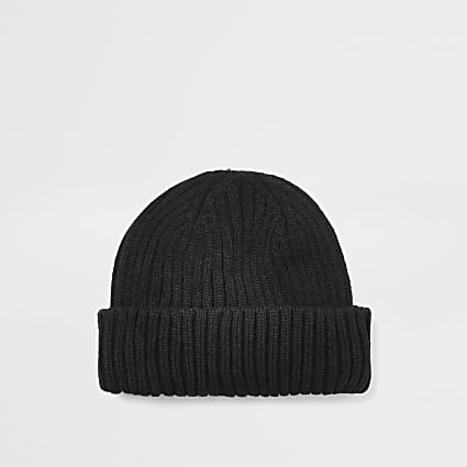 Black knitted beanie docker hat