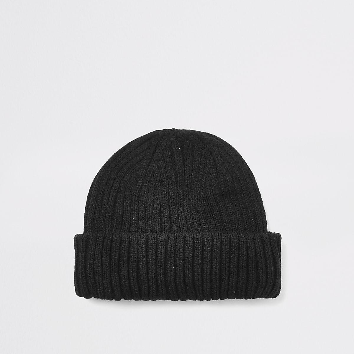 Black knitted beanie docker hat